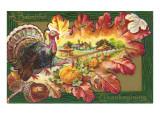 A Bountiful Thanksgiving  Turkey on Oak Leaf