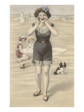 Victorian Woman Shouting on Beach