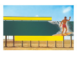 Surfer on Blank Billboard