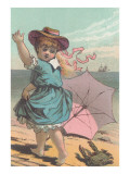 Victorian Girl Alarmed by Crab