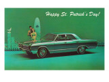 Happy St Patrick&#39;s Day  Surfer Couple with Green Car