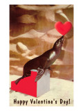 Happy Valentines Day  Seal Balancing Heart