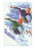 Couple Racing through Powder on Skis