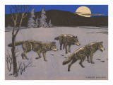 Woodcut of Timber Wolves