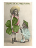 Children with Giant Clover Leaf  St Patrick's Day