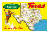 Greetings from Amarillo  Texas  Map
