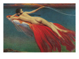 Naked Woman Riding Large Gold Fish