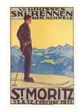 St Moritz Ski Run  Art Deco