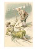 Bonne Annee  Old Fashioned Skiers