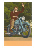 Man on Motorcycle  Waving