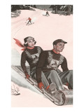 Anxious Looking Woman on Back of Toboggan