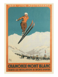 French Ski Poster with Ski Jumper