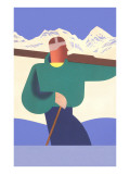 Stylized Skier in Mountains