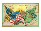 St Patrick's Day  American and Irish Flags