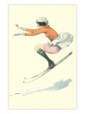 Graceful Lady Skiing Moguls