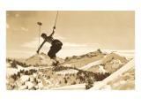Airborne Skier over Landscape