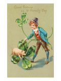 St Patricks Day  Pig  Leprechaun and Shamrock
