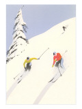 Downhill Skiers in Powder