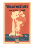 Travel Poster for Yellowstone Park  Old Faithful