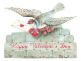 Happy Valentine&#39;s Day  Pigeon Bringing Letter