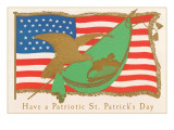 Have a Patriotic St Patricks Day  Flag and Harp