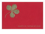Gold Four-Leaf Clover on Red