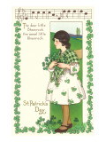 St Patrick&#39;s Day Song with Girl Holding Shamrocks