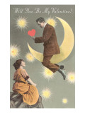 Valentine Man on Crescent Moon