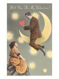 Valentine Man on Crescent Moon