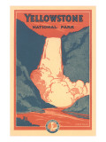 Travel Poster for Yellowstone Park  Waterfall