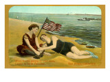 Bathers on Beach  San Diego  California
