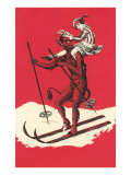 Woman Riding Skiing Devil