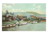 Wharf with Steamboats  Wheeling  West Virginia