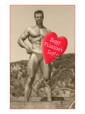 Happy Valentines Day  Muscle Man with Heart