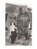Woman Standing by Large Stufffed Bear