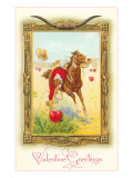 Valentine Greetings  Cowboy Rider Picking Up Heart