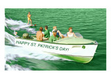 Boat Pulling Water Skier over Green Water  St Patrick's Day