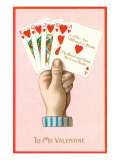 To My Valentine  Poker Hand of Hearts Straight Flush