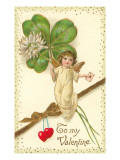 To My Valentine  Cupid with Clover