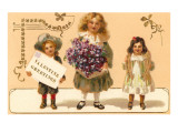 Valentine Greetings  Victorian Children with Violets