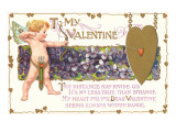 To My Valentine  Cupid with Violets