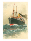 Steamship Hamburg-Amerika Crossing Ocean
