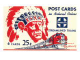 Indian Chief  Streamlined Train  Postcard Folder