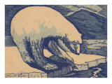Woodcut of Polar Bear