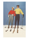 Couple Modeling Fifties Skiwear