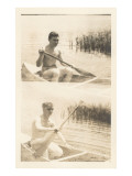 Men Canoing in Pond