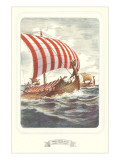 Viking Ship with Striped Sail