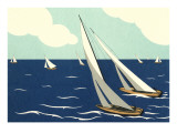 Graceful Racing Sailboats