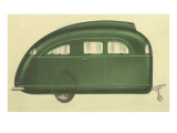 Green Tear-Drop Travel Trailer