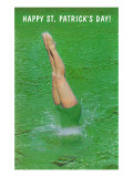 Happy St Patrick&#39;s Day  Woman Diving into Green